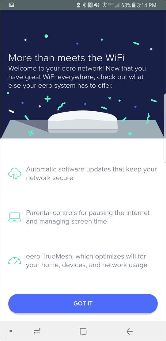 eero welcome screen