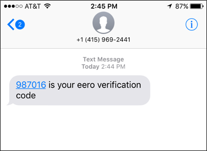 Verification code from eero