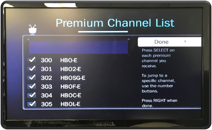 Guided Setup Premium Channel List
