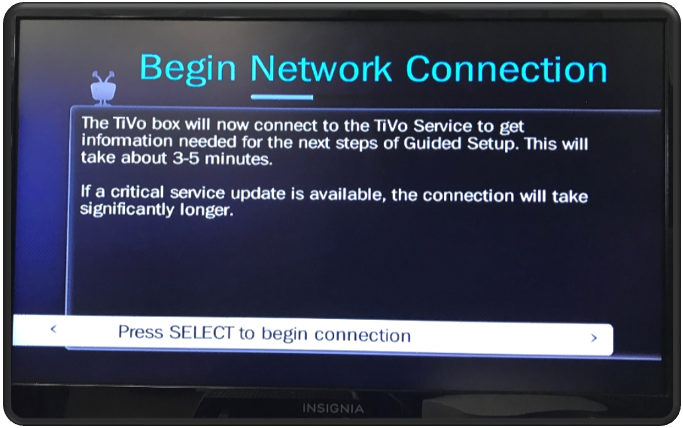 Guided Setup Begin Network Connection