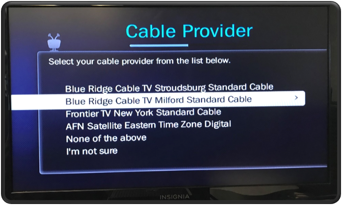 Guide Setup Choose Cable Provider and Lineup