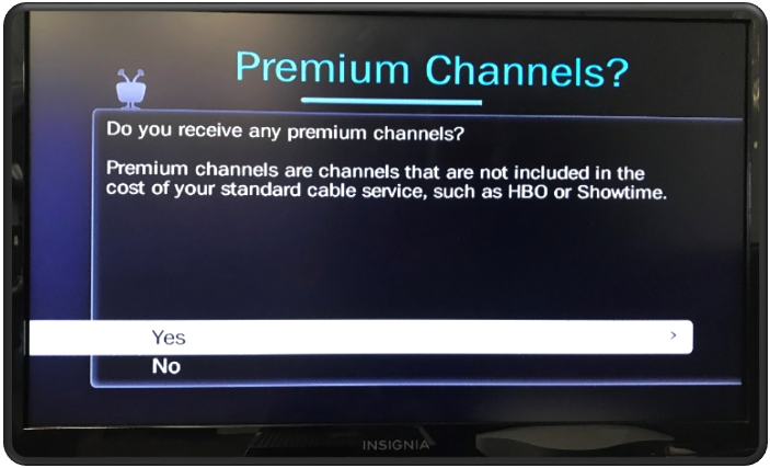 Guided Setup Premium Channels - Yes or No