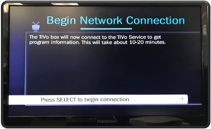 Begin Network Setup - Connect to TiVo Service